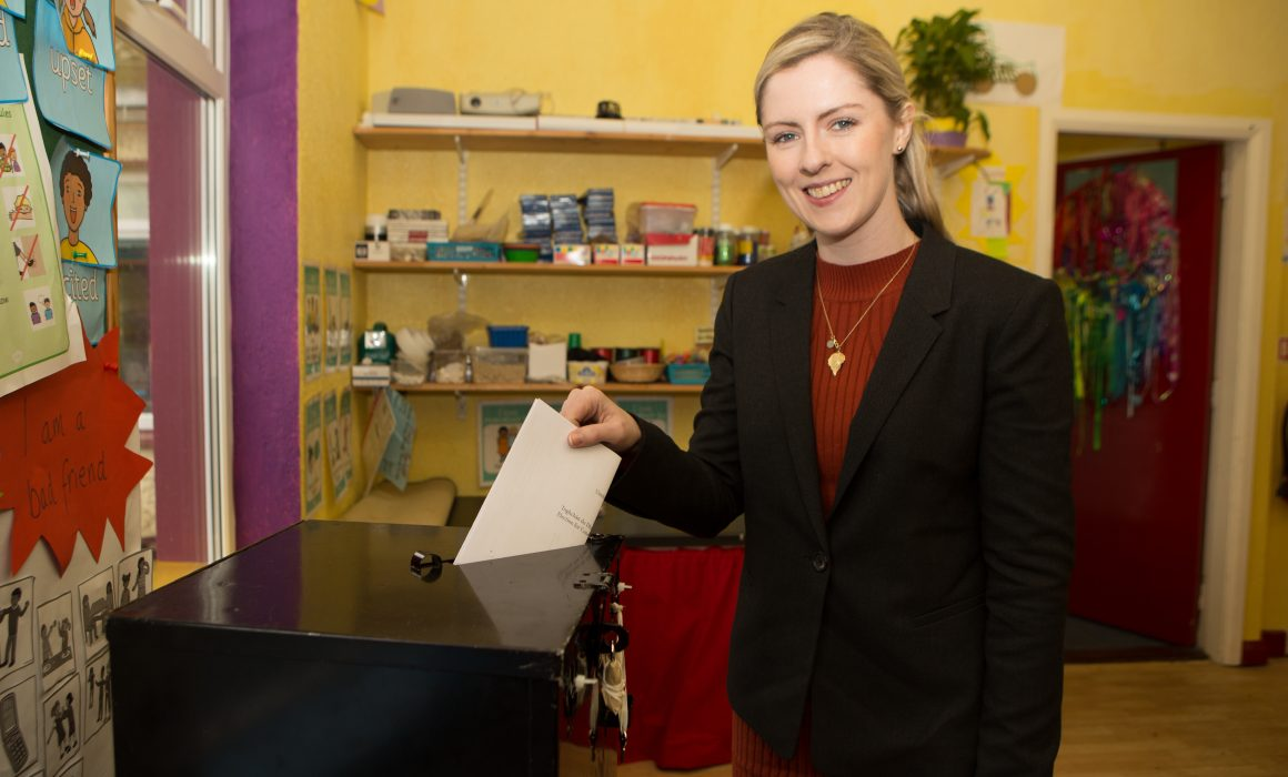 Lisa Chambers casting her vote in the 2016 General Election